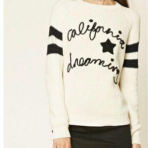 Forever 21 California Dreaming cream sweater